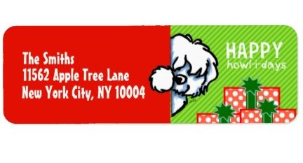 Coton de Tulear Christmas label