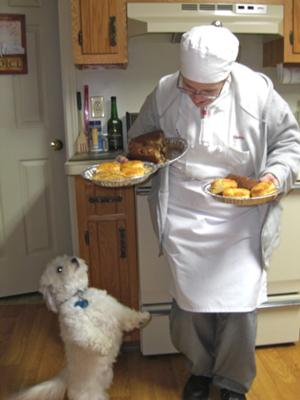 Tuffy begs Chef Dawn for sweet treats