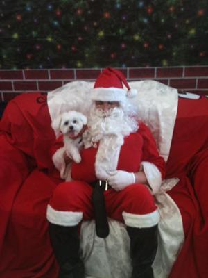 Spanky visits Santa