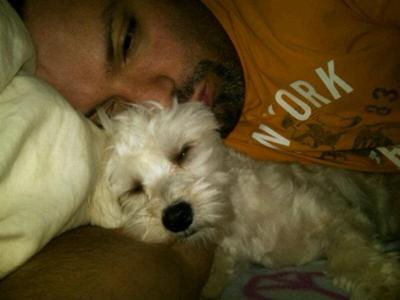 Spanky snoozing with Daddy