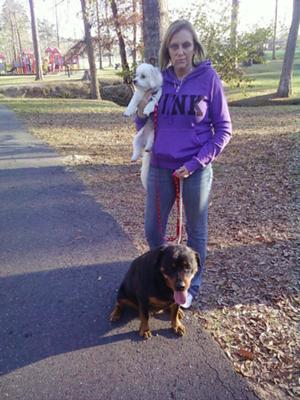Mom, Jolie and Taz walking for excercise